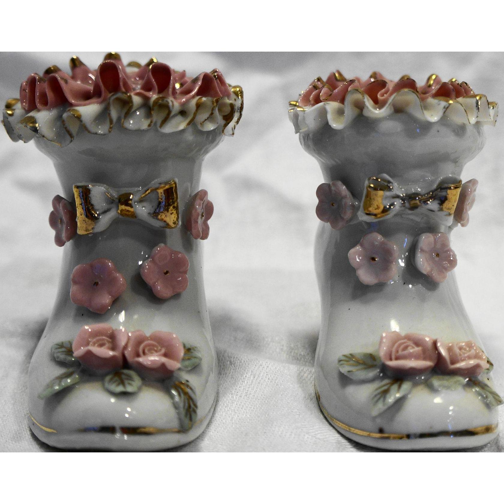 Porcelain Shoe Pair Ruffle Rim Applied Pink Flowers Gold Trim