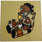 Cleo Teissedre Hand Painted Ceramic Tile Southwestern Native American Mother Babies Dolls 4 IN