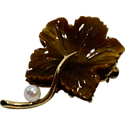 Tigers Eye Carved Leaf Pin Pearl 14K Gold Art Nouveau Style