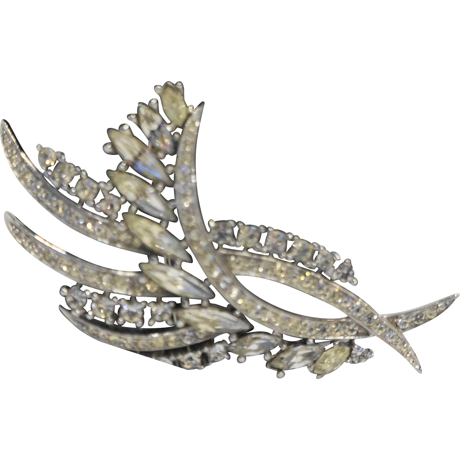 Crown Trifari Clear Rhinestone Fern Spray Leaf Pin Brooch Rhodium Plated