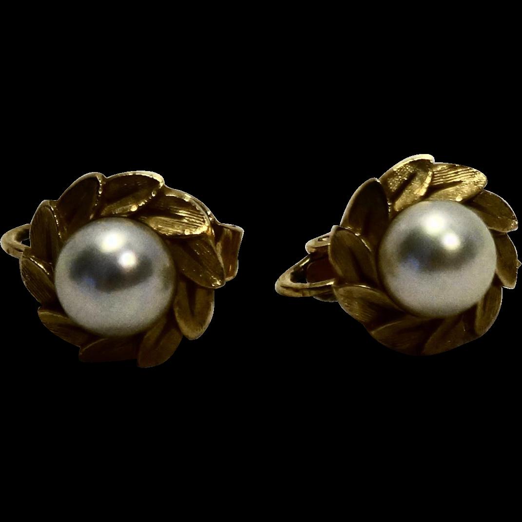 Majorica Simulated 8mm Pearl Gold Tone Clip Earrings