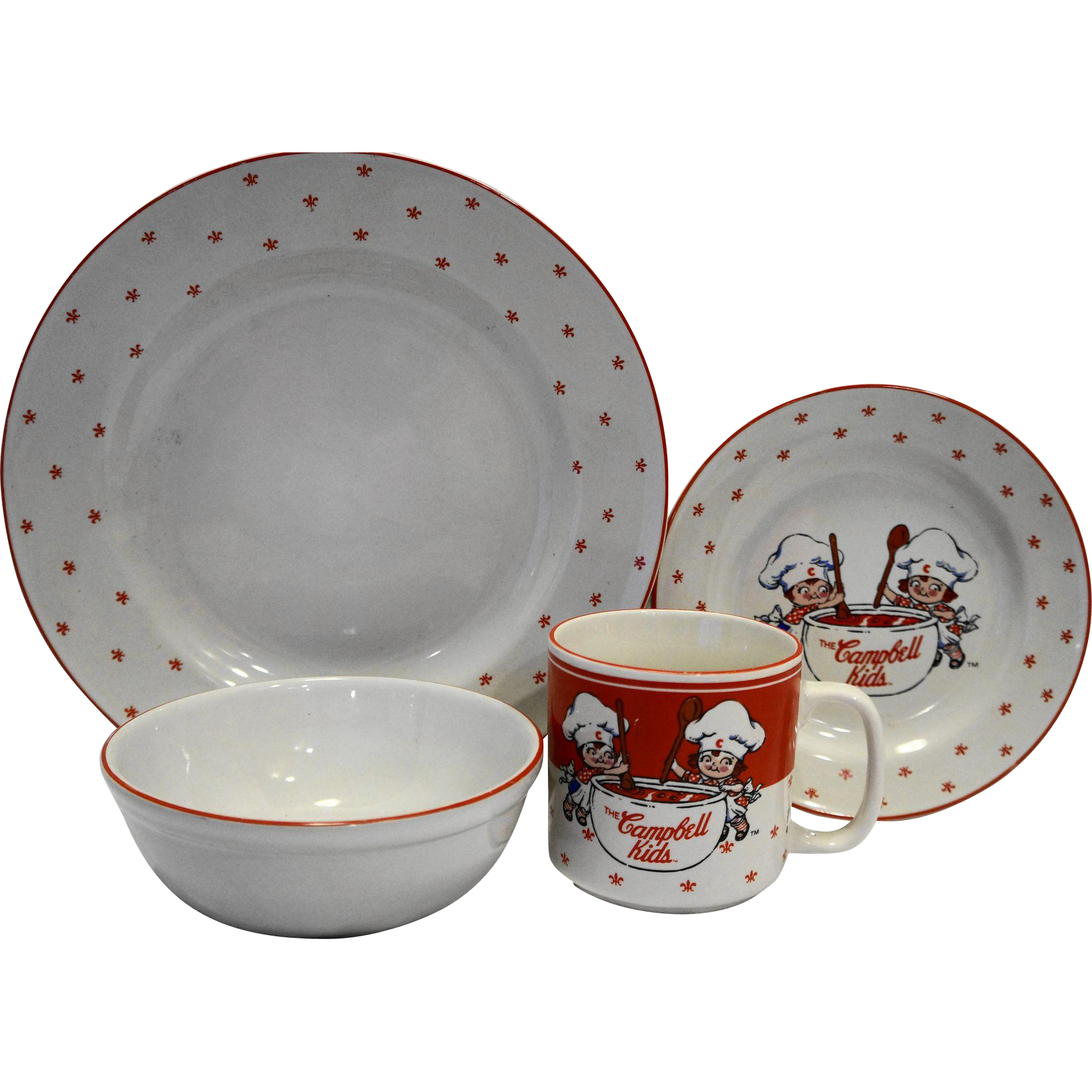 Campbell Kids Gibson China 1991 Place Setting 4 Pcs Plates Bowl Mug