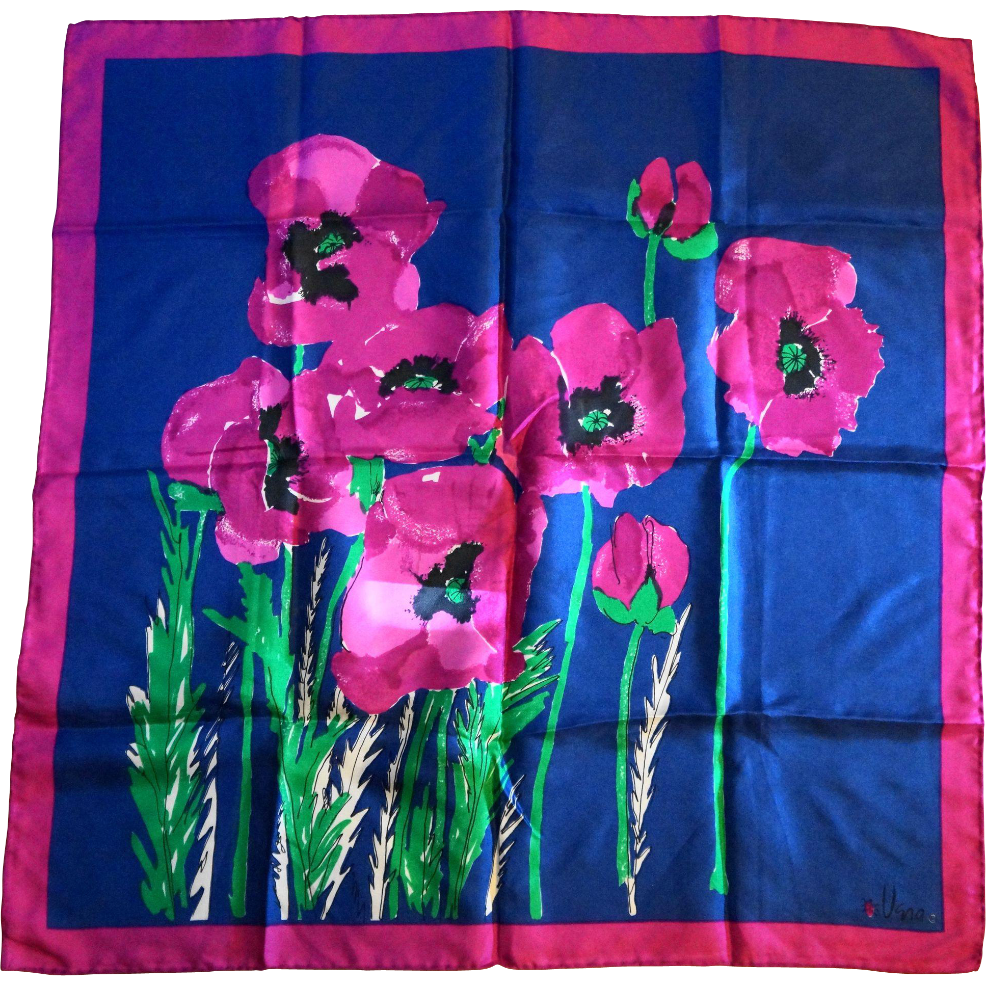 Vera Bold Floral Scarf Fuchsia Poppies Navy Blue Square