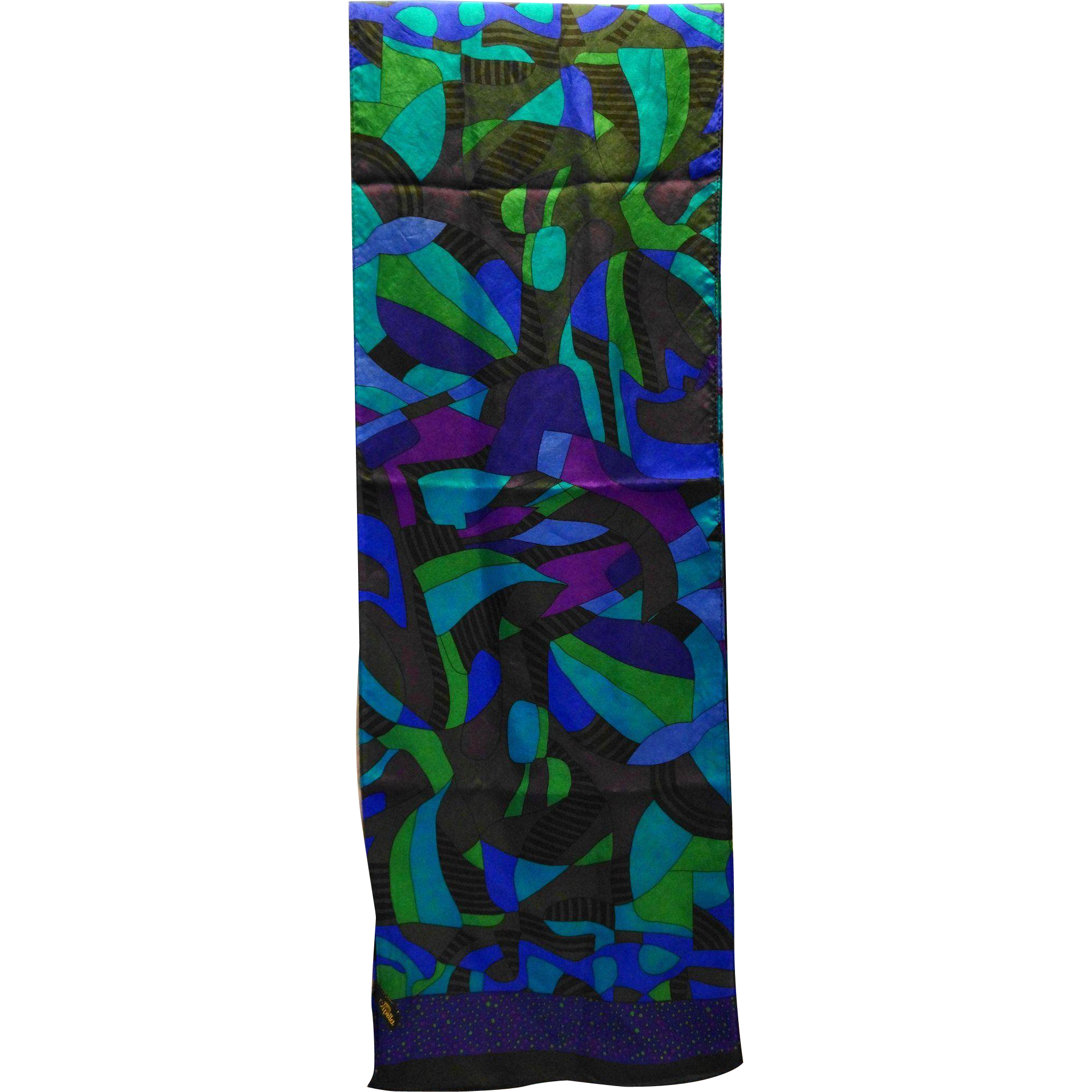 Capella Silk Scarf Oblong Purple BLue Green Jewel Tones Abstract 63 x 10