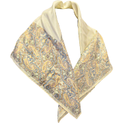 Baar & Beards Cream Paisley Silk Scarf 21 IN Japan