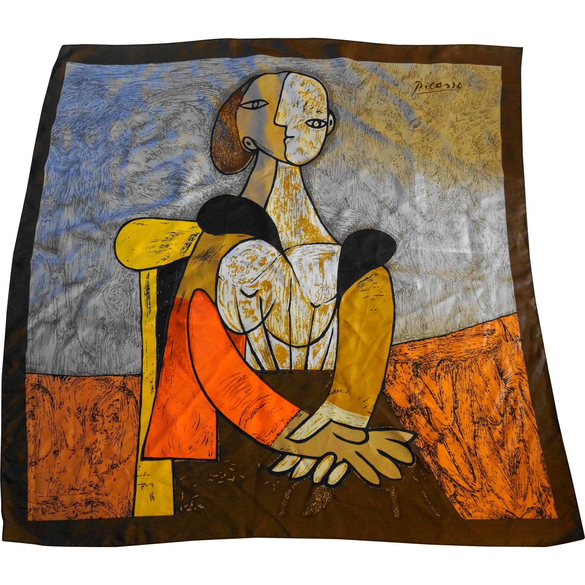 Picasso Art Scarf Woman Portrait Cubist Brown Orange Yellow Abstract 35 IN