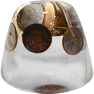 1970 Lincoln Head Penny Pennies Lucite Paperweight