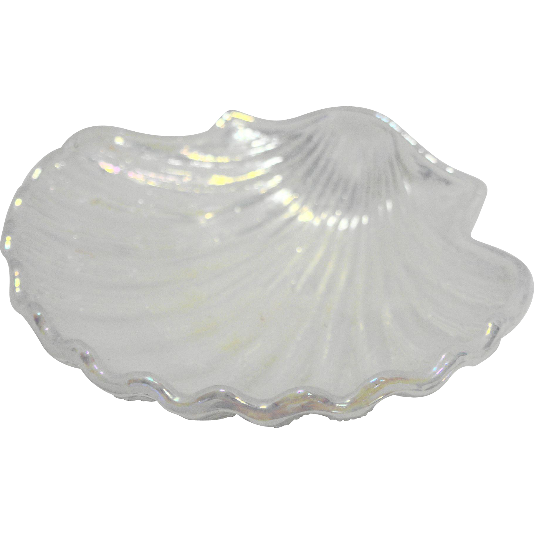 Avon Clam Sea Shell Iridescent White Glass Soap Dish