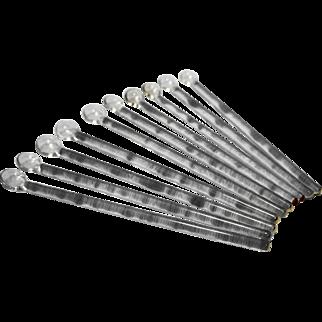 Clear Glass Swizzle Sticks Stirrers Mudders Set of 10