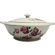 Crown Potteries USA Round Covered Vegetable Pink Purple Blue Flowers
