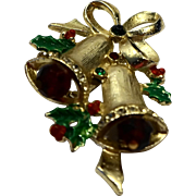 Christmas Bells Pin Red Green Rhinestones Enamel Gold Tone