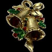 Christmas Bells Pin Red Green Rhinestones Enamel Gold Tone
