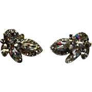 Eisenberg Clear Rhinestone Clip Earrings Rhodium Plated