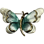 Blue White Enamel Butterfly Gold Tone Pin
