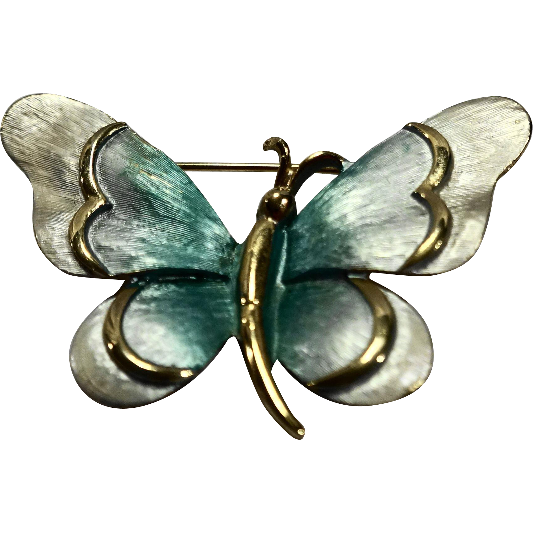 Blue White Enamel Butterfly Gold Tone Pin