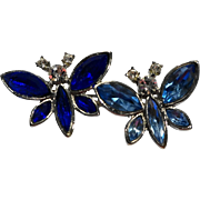 Blue Rhinestone Double Butterfly Pin