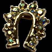 Aurora Borealis Rhinestone Horseshoe Pin Gold Tone