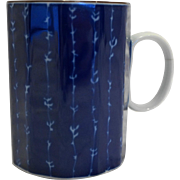 Fitz and Floyd Cobalt Blue White Paneled Mug Mino Yaki Ware Maebata Made in Japan