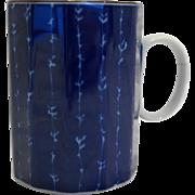 Fitz and Floyd Cobalt Blue White Paneled Mug Mino Yaki Ware Maebata Made in Japan