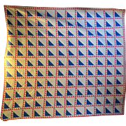 Vintage Rising Sun Block Quilt Half Square Triangles Pink Blue White 1940s 72 x 80 Hand Made