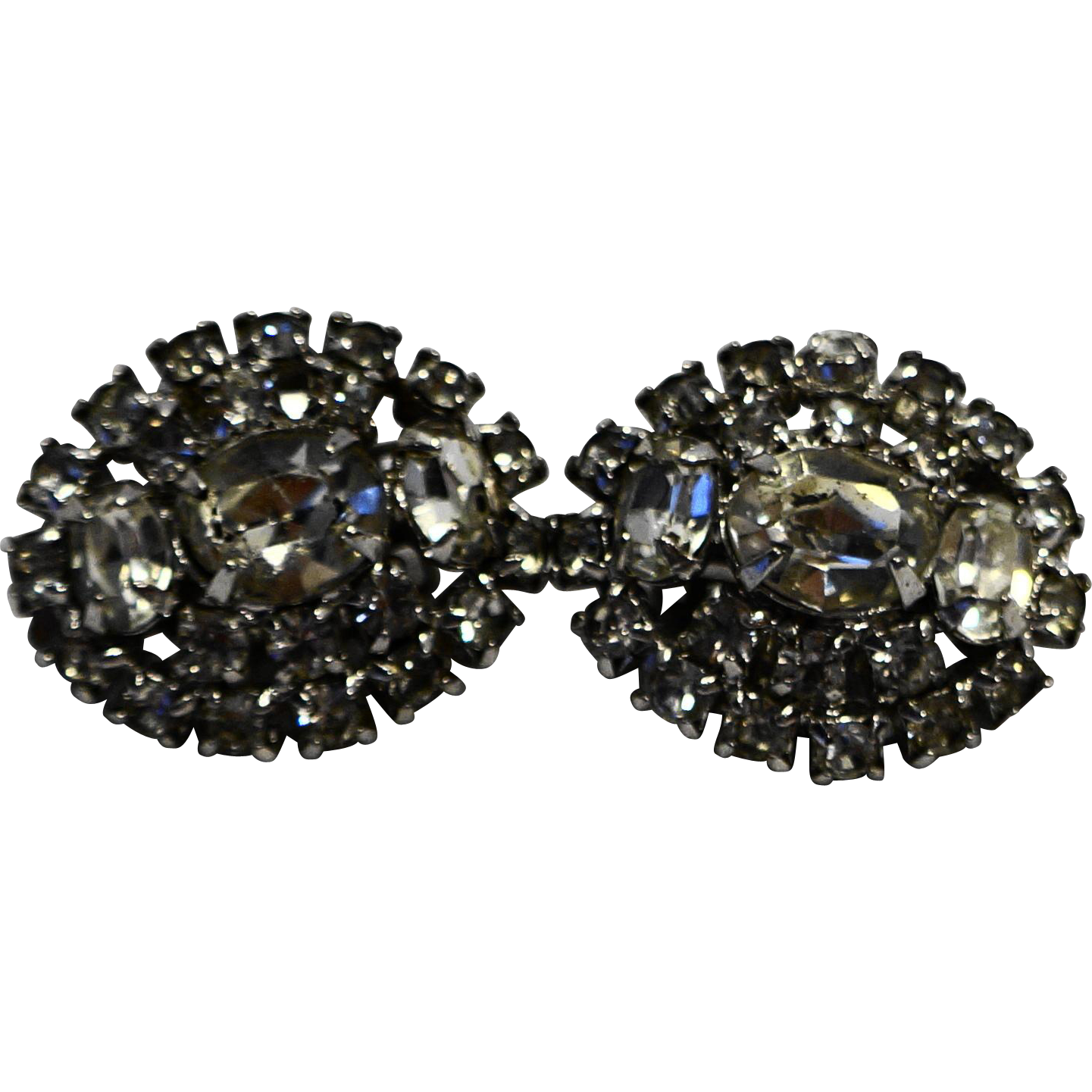 Kramer Clear Rhinestone Prong Set Oval Clip Earrings Mid-century Vintage
