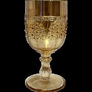 Fenton Orange Tree Marigold Carnival Glass Water Wine Goblet 5 3/8 IN