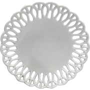 Atterbury H Border White Milk Glass Lace Edge Plate 7 5/8 IN