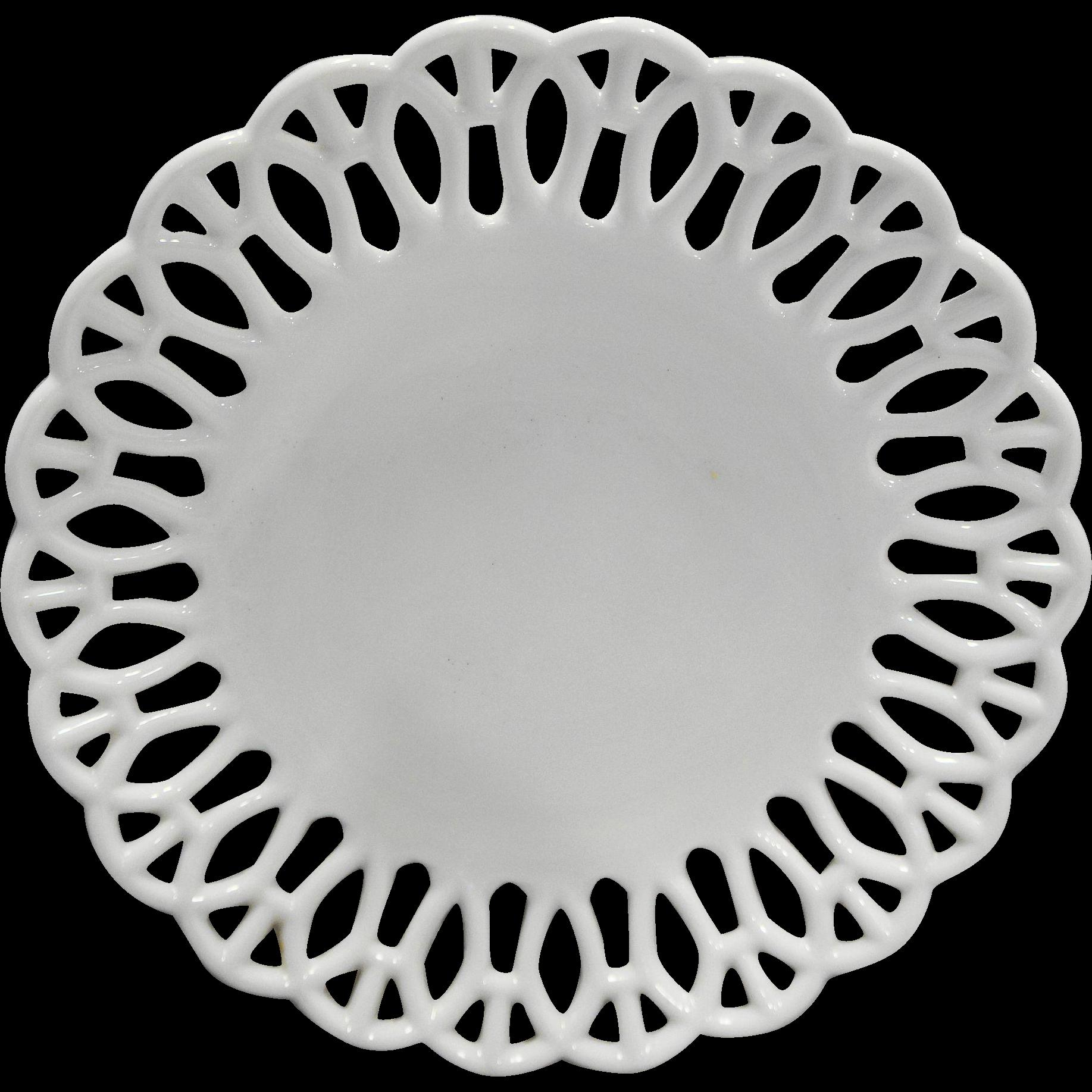 Atterbury H Border White Milk Glass Lace Edge Plate 7 5/8 IN