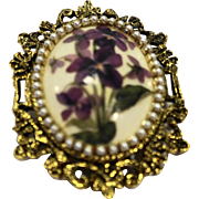 Violets Flower Porcelain Oval Pin Pendant Ornate Gold Tone Finding