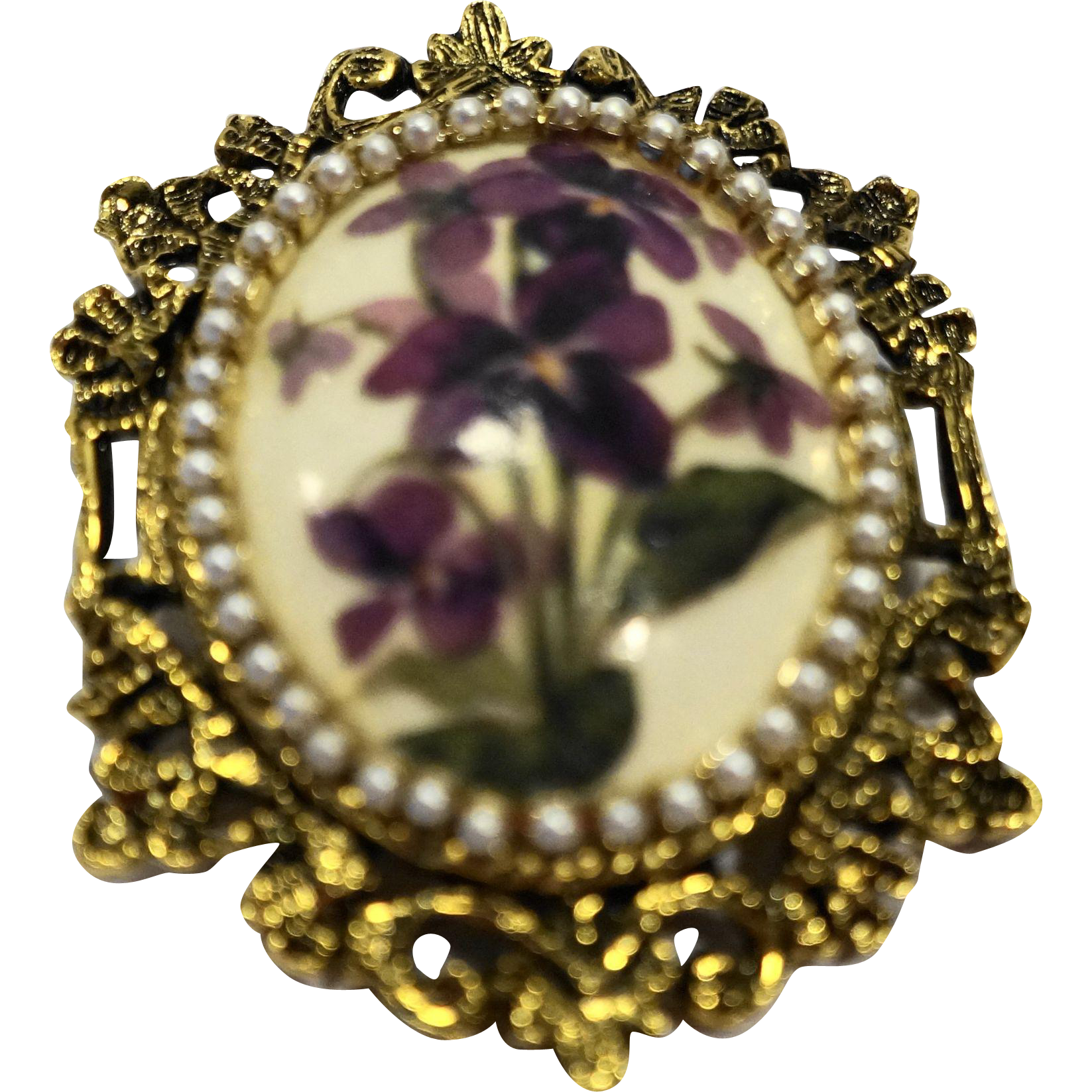 Violets Flower Porcelain Oval Pin Pendant Ornate Gold Tone Finding