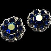Bright Blue Rhinestone Aurora Borealis AB Coated Silver Tone Clip Earrings