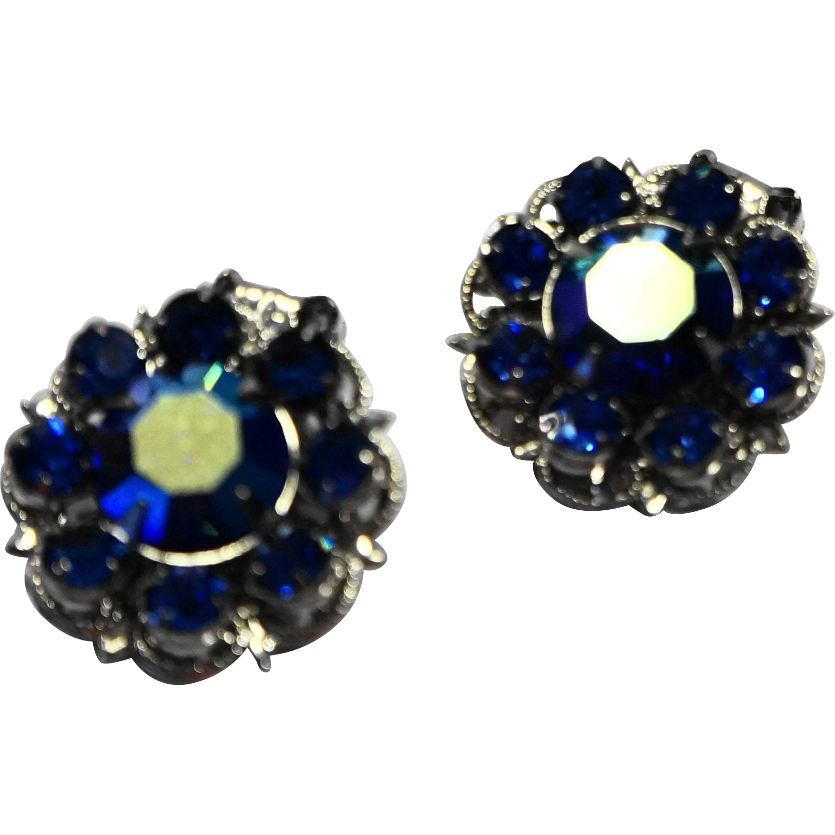 Bright Blue Rhinestone Aurora Borealis AB Coated Silver Tone Clip Earrings