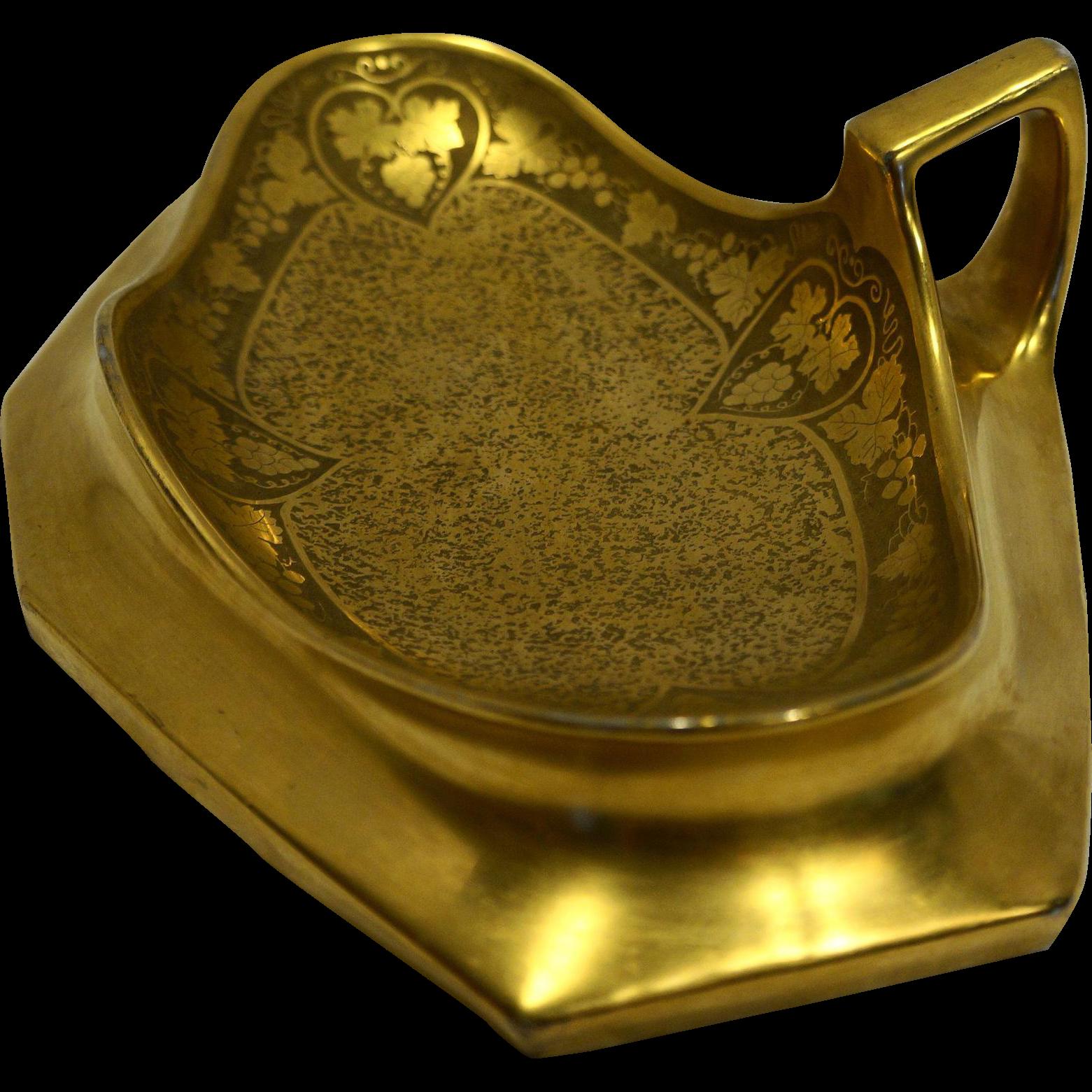 Osborne Art Studios Hand Wrought Gold Bon Bon Dish Porcelain