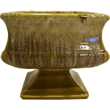 McCoy Square Pedestal Planter Footed Butterscotch Drip Mustard