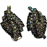 Kramer Gray Aurora Borealis Rhinestone Twist Clip Earrings