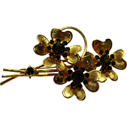 Emerald Green Rhinestone Gold Tone Flower Bouquet Pin