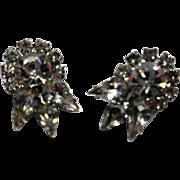 Rhinestone Earrings Clear Sparklers Crown Clips