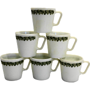 Pyrex Spring Blossom Crazy Daisy Green Flowers White Mugs Set of 6