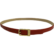 Liz Claiborne Red Leather Narrow Ladies Belt Brass Buckle Size L