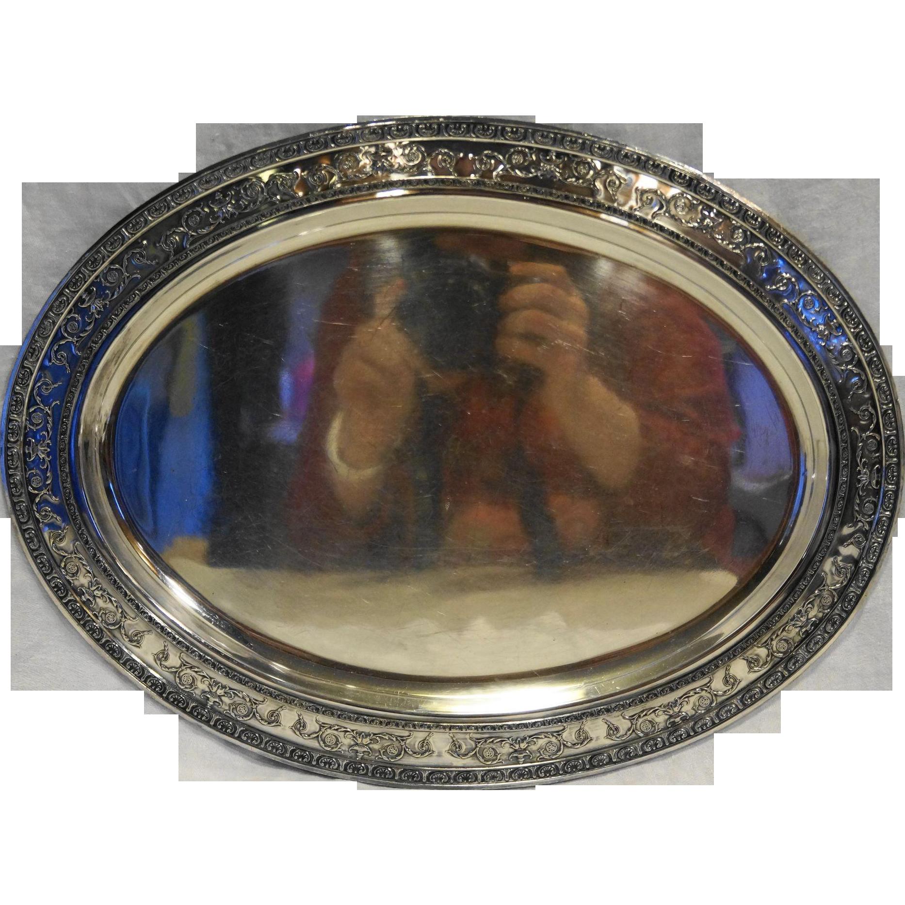 Silverplate Oval Platter Embossed Shells Urns Scrolls Rim 17 IN