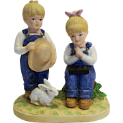 Denim Days Jesus Loves Us 8867 Figurine Homco Made in Taiwan Porcelain