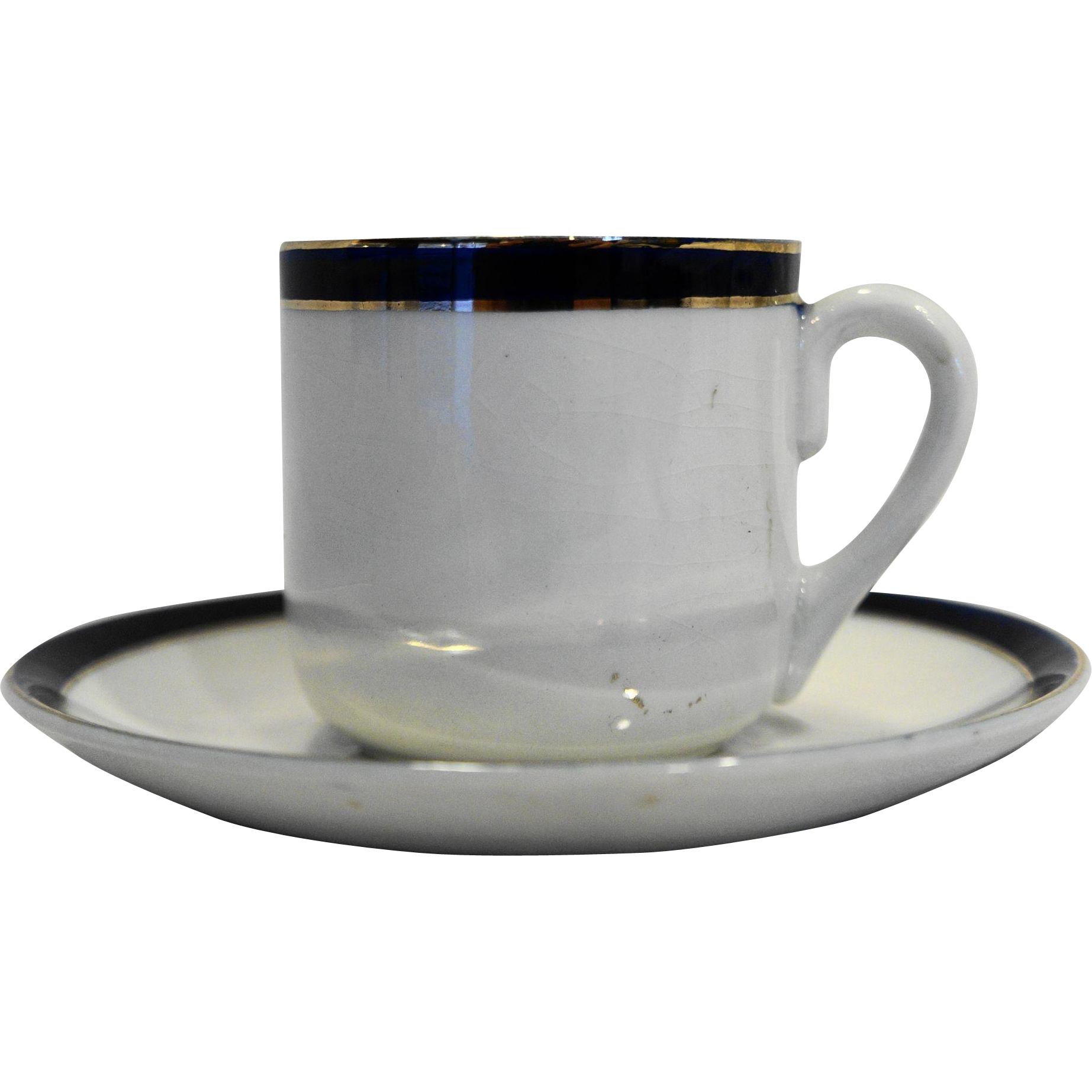 Cobalt Blue Band Occupied Japan Ironstone Demitasse Cup Saucer