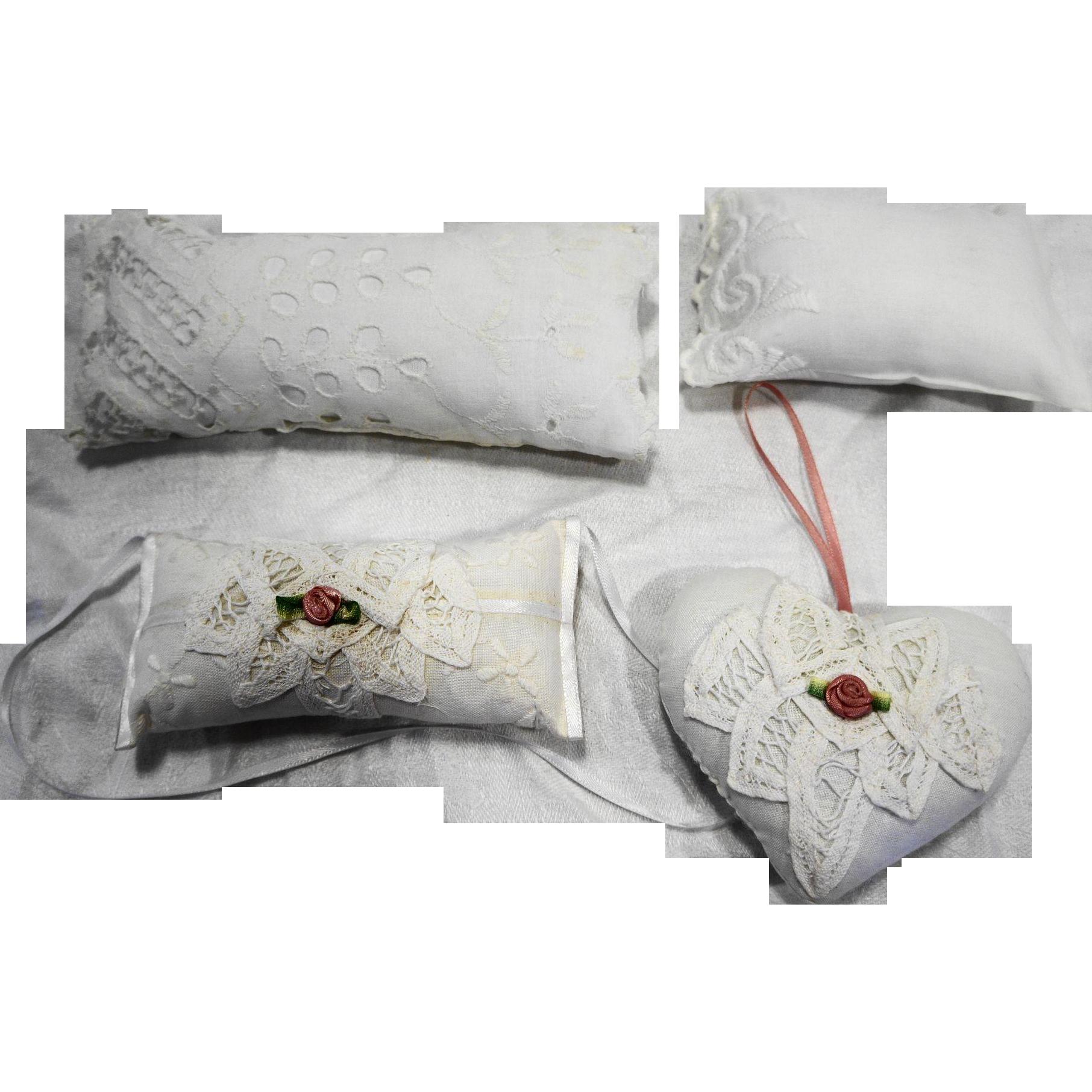 Handmade Lace Doll Pillows And Ribbon Lace Sachets Set 4 PC