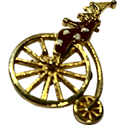 Clown Riding High Wheel Bicycle Pin Enamel Gold Tone