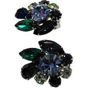 Tara Signed Blue Green Rhinestone Clip Earrings