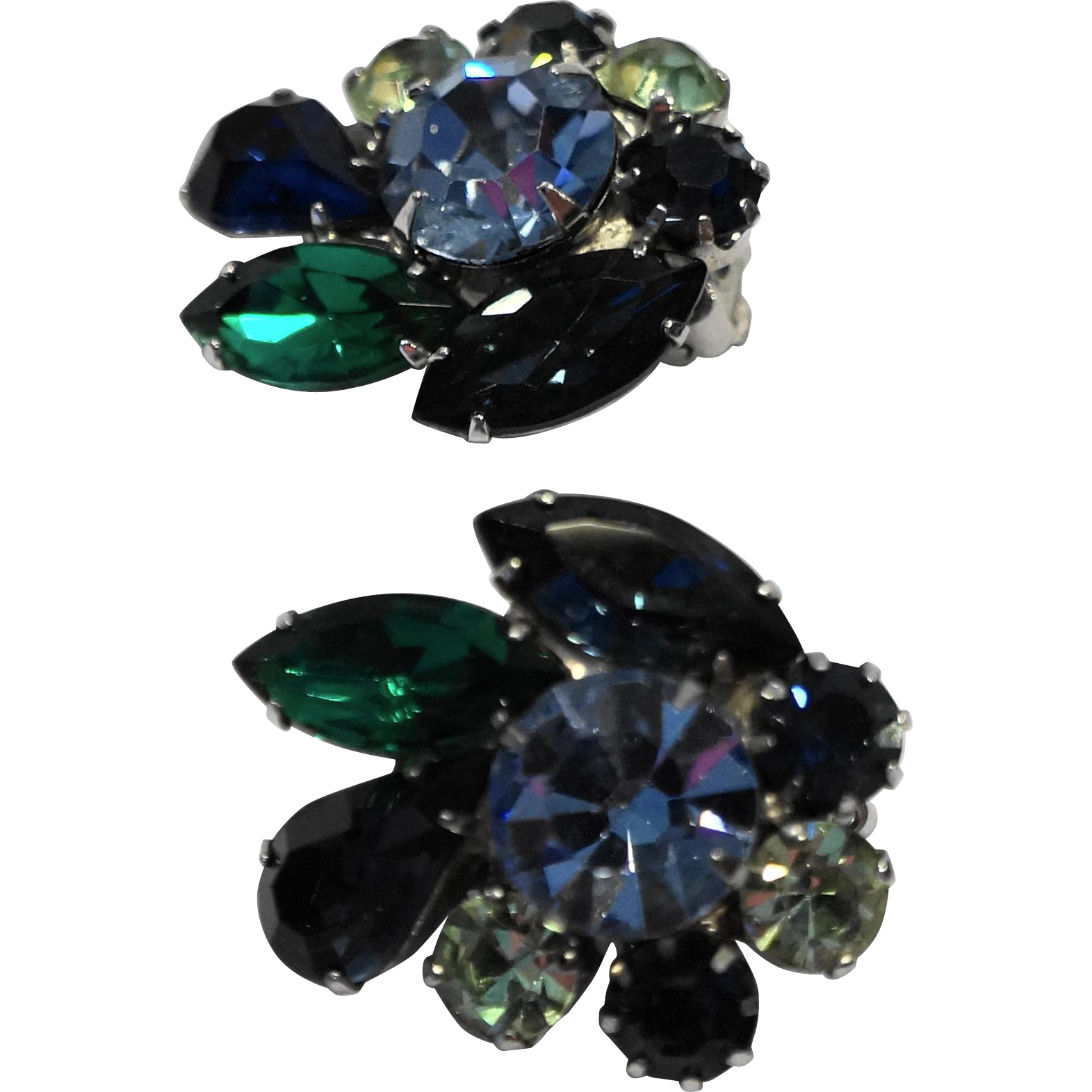 Tara Signed Blue Green Rhinestone Clip Earrings