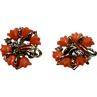 Coral Tulip Thermoset Clip Earrings Signed Star