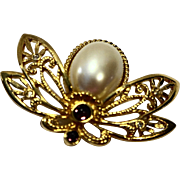 Avon Nature's Flight Beetle Bug Insect Pin Faux Pearl Oval Cab Gold Tone