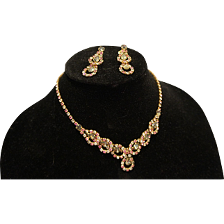 Pink Clear Smoke Gray Rhinestone Necklace Earrings Set