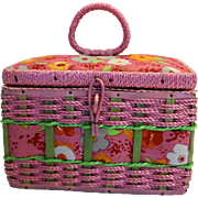 Azar Small Pink Floral Vintage Sewing Basket Made in Korea
